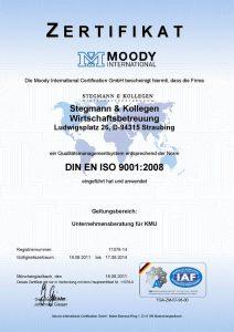 Stegmann & Kollegen Wirtschaftsbetreuung: DIN EN ISO Zertifikat